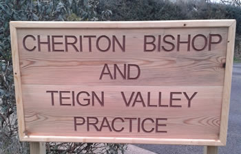Cheriton Bishop and Teign Valley Practice Sign